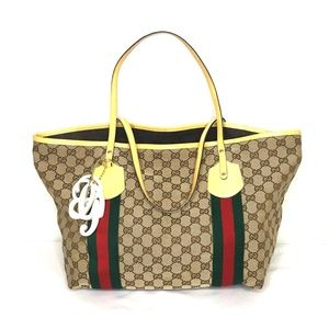 Authentic Gucci brown monogram canvas tote yellow